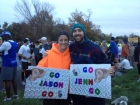 Our pre-race getups and signs!