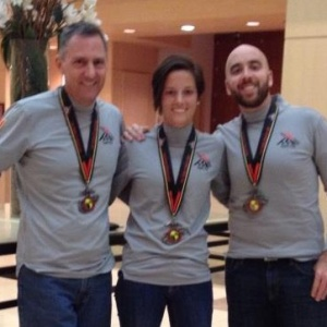 Marathoners in our shirts and medals!