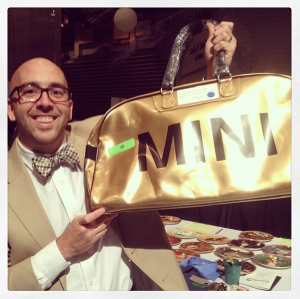 """The prized possession of the evening - Jason's MINI """"man bag"""" to match his car!"""